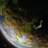 Oost-Azië van ruimte tijdens schemer stock illustratie