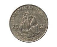 Oost- Caraïbische Staten, 25 Centenmuntstuk Omgekeerde, 2002 Stock Afbeeldingen