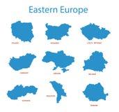 Oost-Europa - kaarten van gebieden stock illustratie