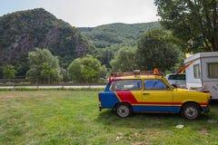 Oostduitse plastic uitstekende Trabant-auto in MÃ ¼ nstermaifeld, Duitsland Stock Afbeelding