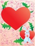 Oostelijk konijntje met hart en ei Stock Fotografie