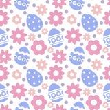Oostelijk naadloos patroon met eieren en bloemen Stock Afbeelding