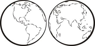 Oostelijke & westelijke hemisfeer vector illustratie