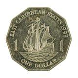 1 oostelijke Caraïbische obvers van het dollarmuntstuk 1995 royalty-vrije stock afbeeldingen