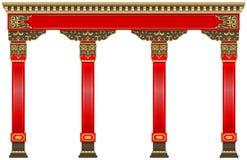 Oostelijke Chinese boog Gesneden rode gouden kolommen royalty-vrije illustratie