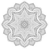 Oostelijke etnische mandala Rond symmetrisch patroon kleuring stock illustratie