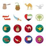 Oostelijke schoenen, dolk, het hart van de emiraten, Palm Jumeirah Arabische emiraten geplaatst inzamelingspictogrammen in beeldv Royalty-vrije Stock Fotografie