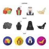 Oostelijke snoepjes, Ramadanlamp, Arabische sjeik, grondgebied Arabische emiraten geplaatst inzamelingspictogrammen in beeldverha Stock Foto's