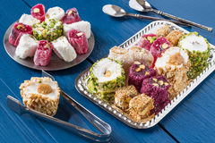 Oostelijke snoepjes Turkse verrukkings rahat lokum Stock Foto's