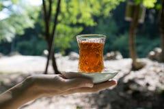 Oostelijke zwarte thee in glas op een oostelijk tapijt Oostelijk theeconcept Armudu traditionele kop De achtergrond van de zonson royalty-vrije stock afbeeldingen