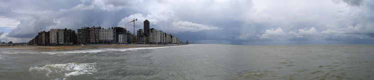 Oostende. A rainy day at the northsea Stock Image