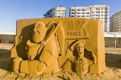 OOSTENDE, BELGIË als thema gehade zandkastelen, stock foto's