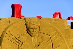 OOSTENDE, BELGIË als thema gehade zandkastelen, stock afbeeldingen