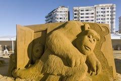 OOSTENDE, BELGIË als thema gehade zandkastelen, royalty-vrije stock afbeeldingen