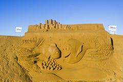 OOSTENDE, BELGIË als thema gehade zandkastelen, stock fotografie