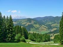 Oostenrijk, alp-Vooruitzichten van Barenwaldstrasse Stock Foto