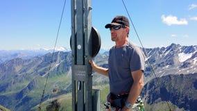 oostenrijk De top ` Rinnenspitze ` Klimmer bij de bovenkant royalty-vrije stock fotografie