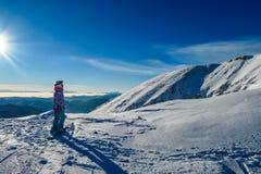 Oostenrijk - een snowboarding meisje die de mening over lange bergen bewonderen stock fotografie