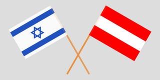 Oostenrijk en Israël De Oostenrijkse en Israëlische vlaggen Officiële kleuren Correct aandeel Vector vector illustratie
