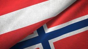 Oostenrijk en Noorwegen twee vlaggen textieldoek, stoffentextuur stock illustratie