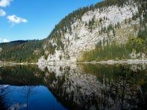 oostenrijk Gosausee Spiegelbezinning van de Alpiene berg in het meer royalty-vrije stock fotografie