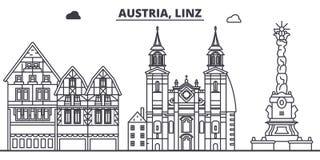 Oostenrijk, Linz-de vectorillustratie van de lijnhorizon Oostenrijk, lineaire cityscape van Linz met beroemde oriëntatiepunten, s stock illustratie