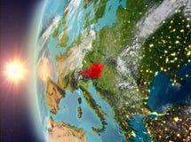 Oostenrijk tijdens zonsondergang van ruimte Royalty-vrije Stock Foto