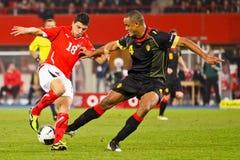 Oostenrijk versus België stock afbeeldingen