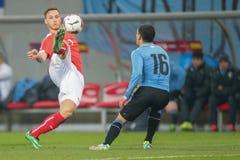 Oostenrijk versus België uruguay stock afbeeldingen