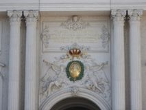 Oostenrijk, Wenen, uitstekende architectuur van steenmuren van gebouwen stock foto's
