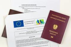 Oostenrijks elektronisch paspoort op de EU-klachtenvorm tegen airlin Royalty-vrije Stock Foto's