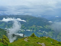 Oostenrijkse alp-Mening van de Alpen van hoge bergweg Stock Foto's