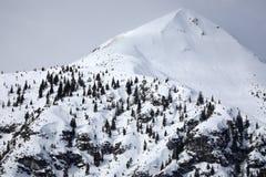Oostenrijkse bergpieken die met sneeuw worden behandeld stock foto