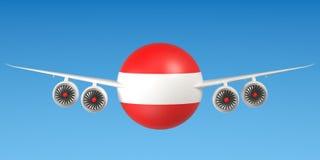 Oostenrijkse luchtvaartlijnen en flying& x27; s concept het 3d teruggeven Royalty-vrije Stock Foto's