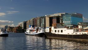 Oosterdok Modern Buildings and Boats stock video