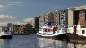 Oosterdok Modern Buildings and Boats stock video footage