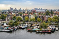 Oosterdok skyline cityview in Amsterdam Stock Photo