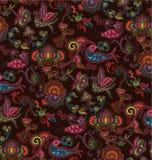 Oosters Bloemen en Patroon 4 van de Vogel Stock Afbeeldingen