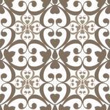 Oosters naadloos patroondamast arabesque en bloemen bruine elem Royalty-vrije Stock Afbeelding