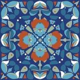 Oosters traditioneel de goudvis vierkant patroon van de lotusbloembloem Stock Afbeelding