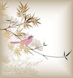 Oosterse Bamboe en Vogel Stock Afbeelding
