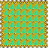 Oosterse beweging veroorzakend als achtergrond met gouden spiralen en groen Royalty-vrije Stock Afbeelding