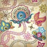 Oosterse Bloemen en Vlinder royalty-vrije illustratie