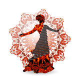 Oosterse dansdanser in rood vector illustratie