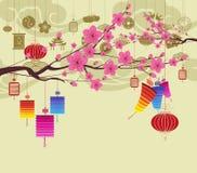 Oosterse Gelukkige Chinese Nieuwjaar 2018 bloesem Chinese baclground stock illustratie