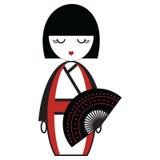 Oosterse Japanse geishapop met kimono met orinetal die ventilatorelement door traditionele Japanse uitrusting en cultuur wordt ge Stock Afbeelding