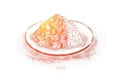 Oosterse keuken, kruidige rijstschotel met gestoofd vlees, groenten, het oostelijke menu van het voedselrestaurant, gastronomisch stock illustratie
