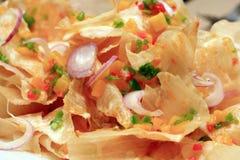 Oosterse op smaak gebrachte nachos royalty-vrije stock afbeelding