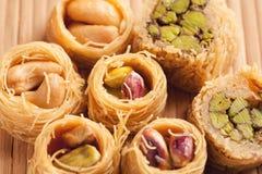 Oosterse snoepjes in de macro van het assortimentsclose-up Stock Foto's
