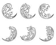 Oosterse watergolf in het halve pictogram van de maanvorm japans thais vector illustratie